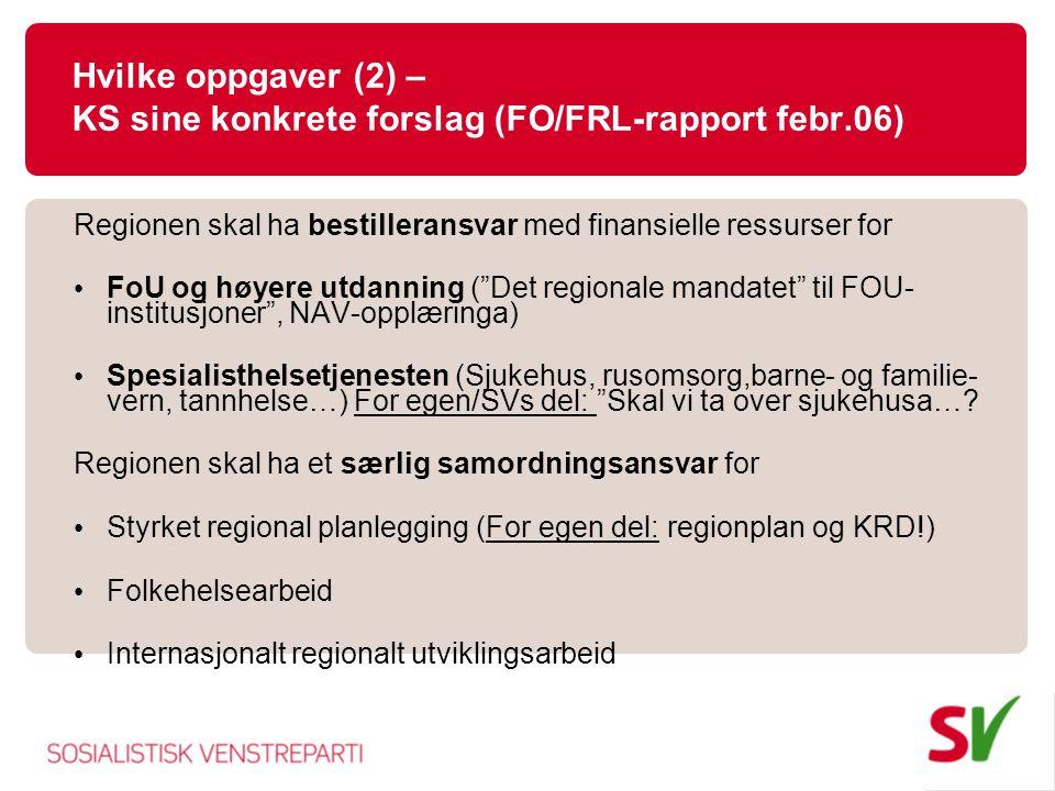 Hvilke oppgaver (2) – KS sine konkrete forslag (FO/FRL-rapport febr