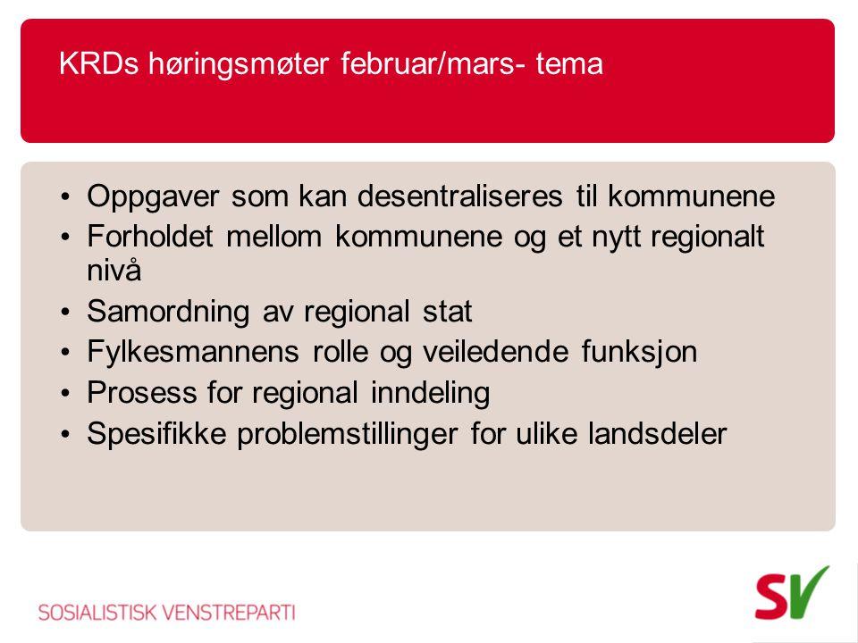 KRDs høringsmøter februar/mars- tema