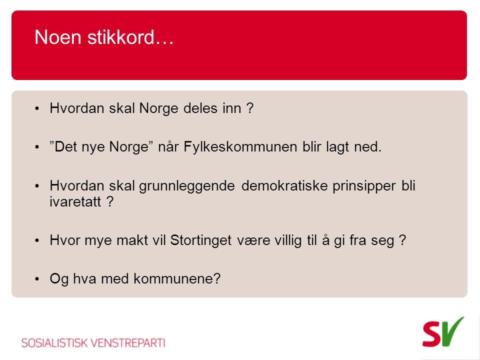 Noen stikkord… Hvordan skal Norge deles inn