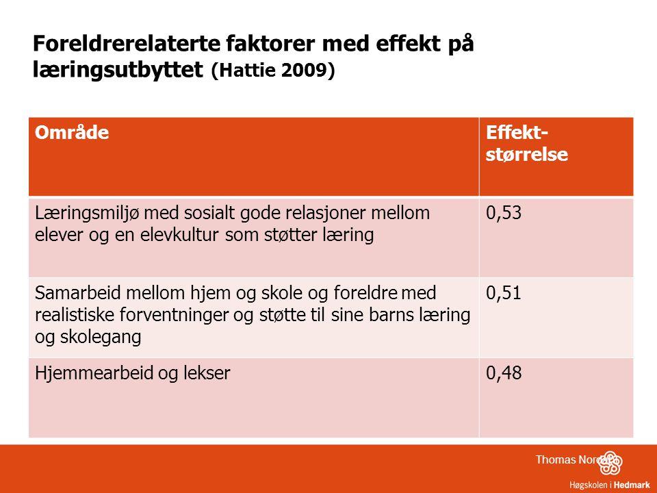 Foreldrerelaterte faktorer med effekt på læringsutbyttet (Hattie 2009)