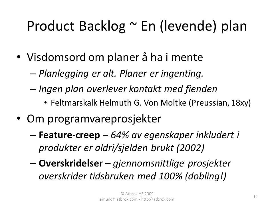 Product Backlog ~ En (levende) plan