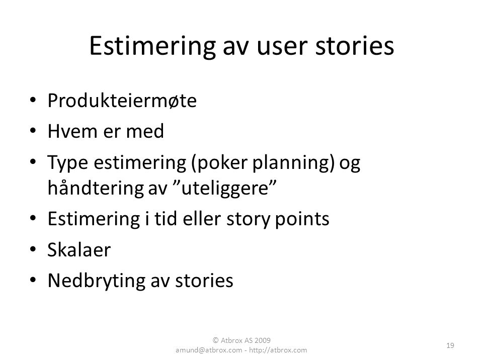 Estimering av user stories