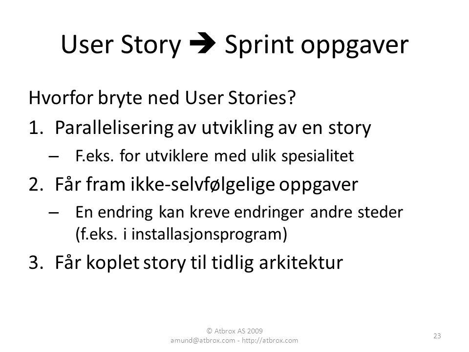 User Story  Sprint oppgaver