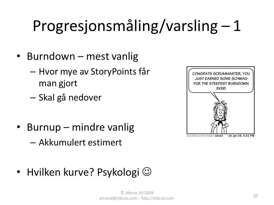 Progresjonsmåling/varsling – 1
