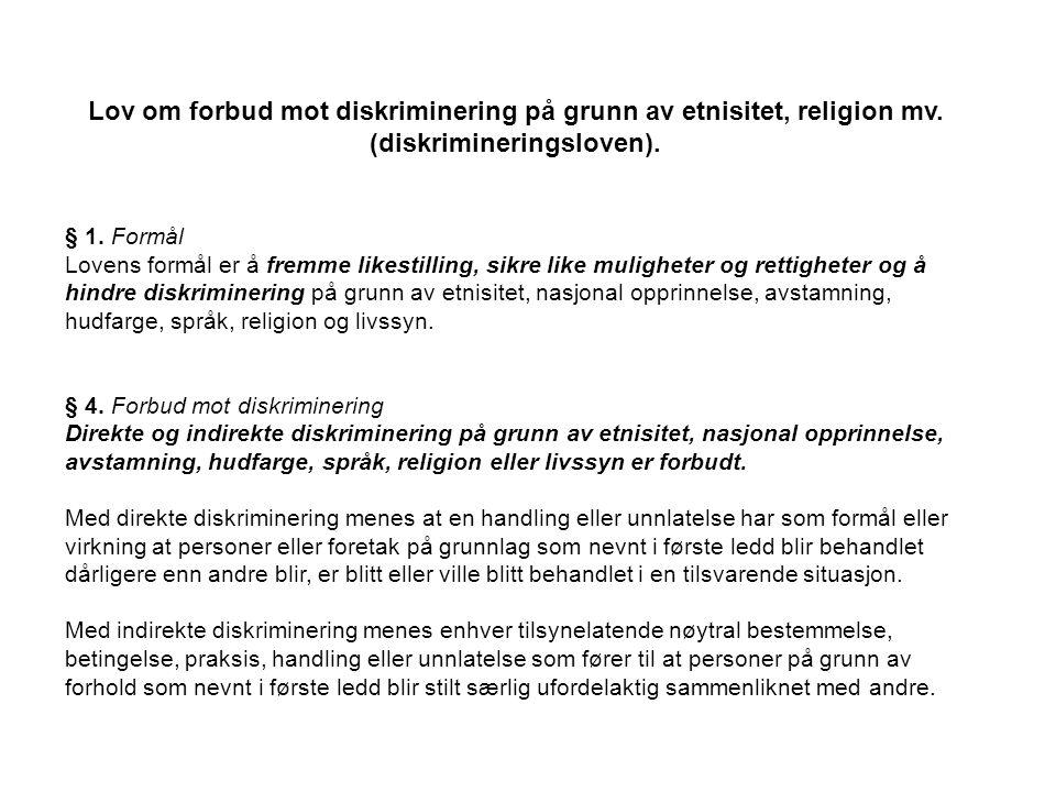 Lov om forbud mot diskriminering på grunn av etnisitet, religion mv