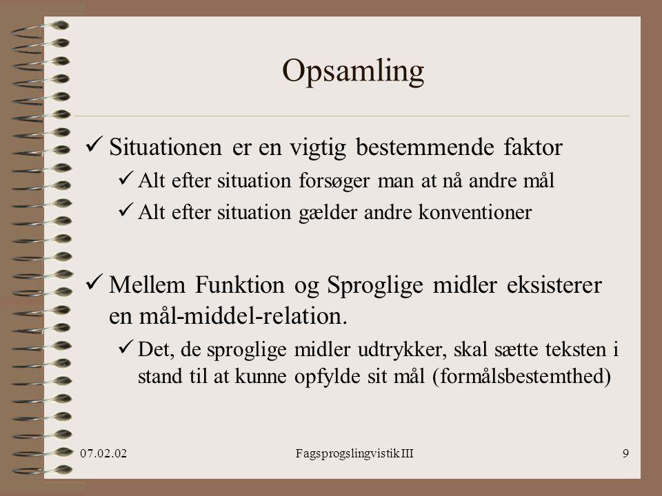 Introduktion til Fagsprogslingvistik III