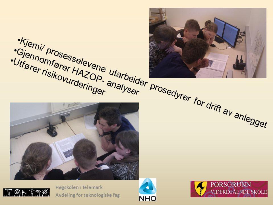 Kjemi/ prosesselevene utarbeider prosedyrer for drift av anlegget