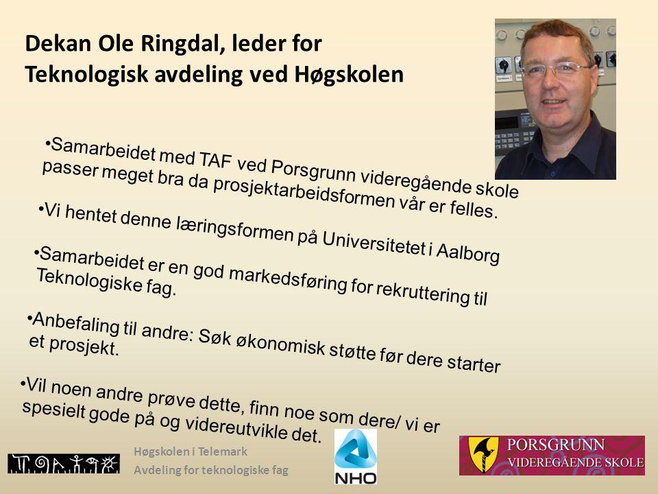 Dekan Ole Ringdal, leder for Teknologisk avdeling ved Høgskolen