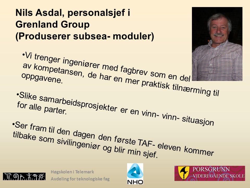 Nils Asdal, personalsjef i Grenland Group (Produserer subsea- moduler)