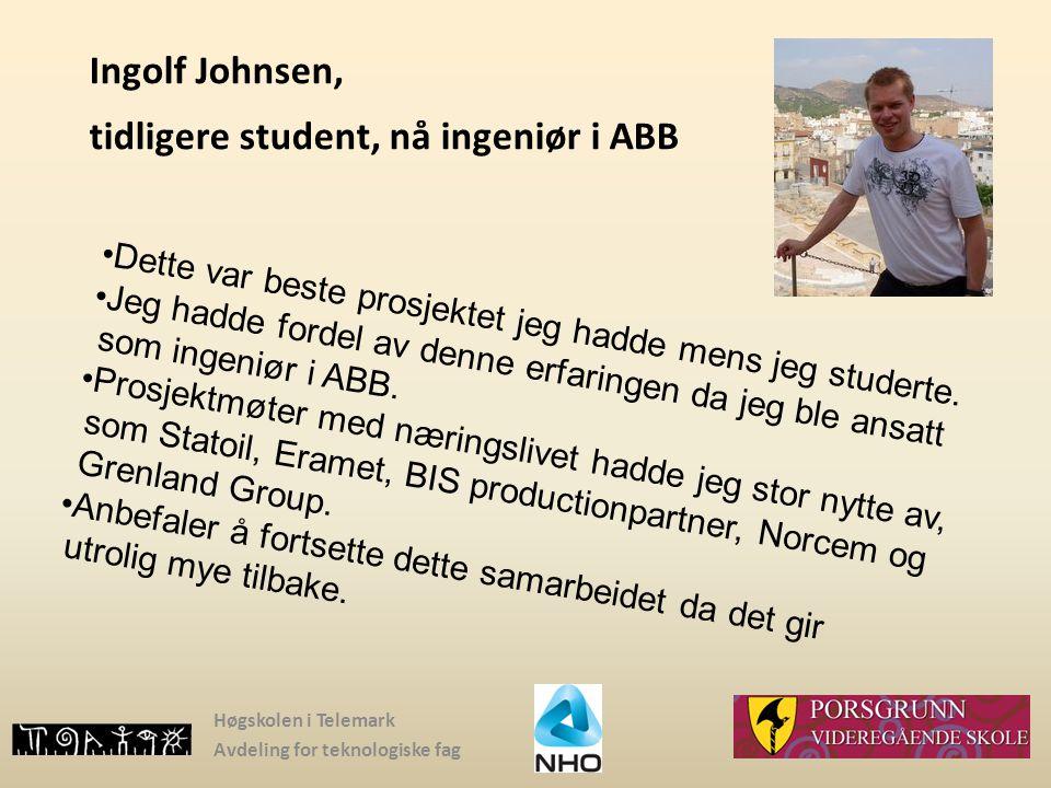 Ingolf Johnsen, tidligere student, nå ingeniør i ABB