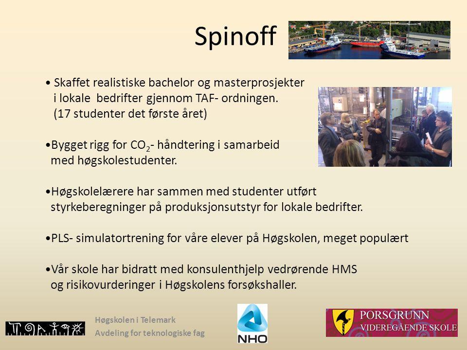 Spinoff Skaffet realistiske bachelor og masterprosjekter i lokale bedrifter gjennom TAF- ordningen. (17 studenter det første året)