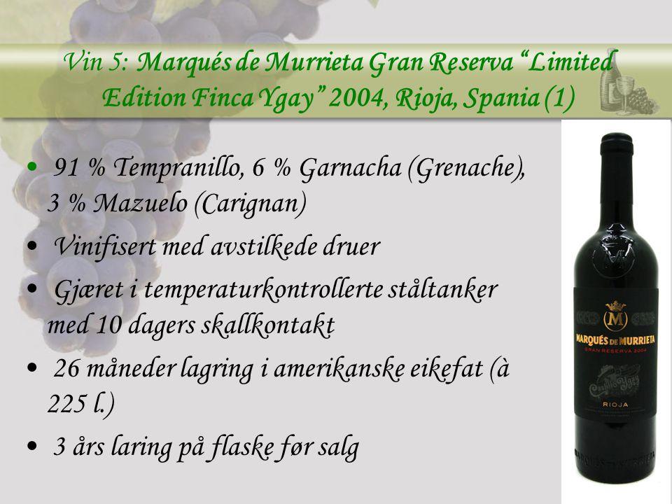 Vin 5: Marqués de Murrieta Gran Reserva Limited Edition Finca Ygay 2004, Rioja, Spania (1)