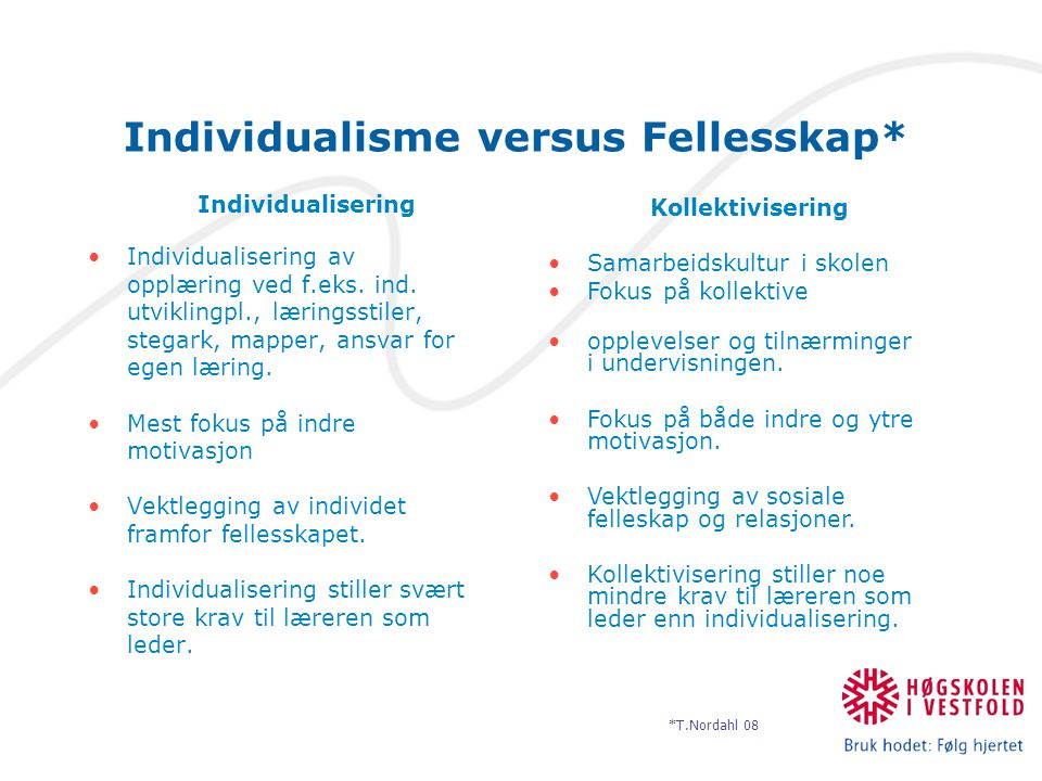 Individualisme versus Fellesskap*