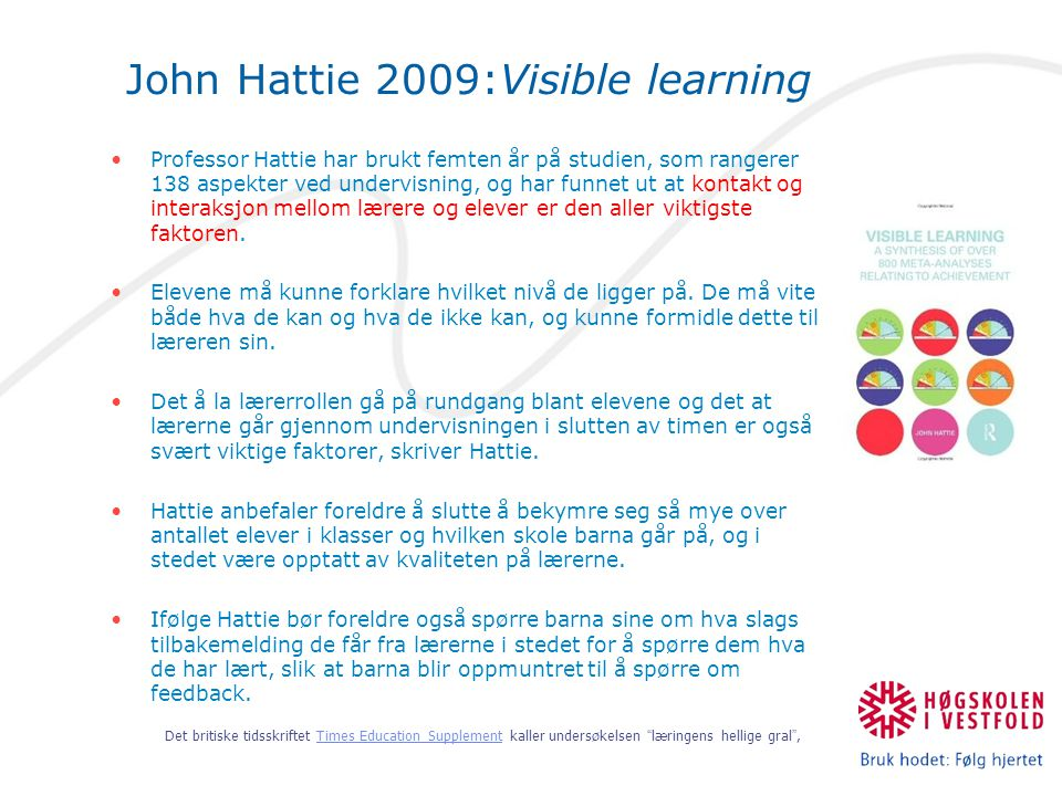 John Hattie 2009:Visible learning