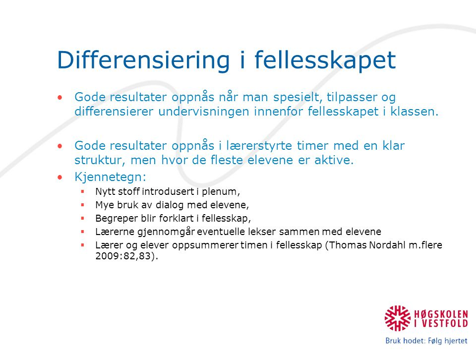Differensiering i fellesskapet