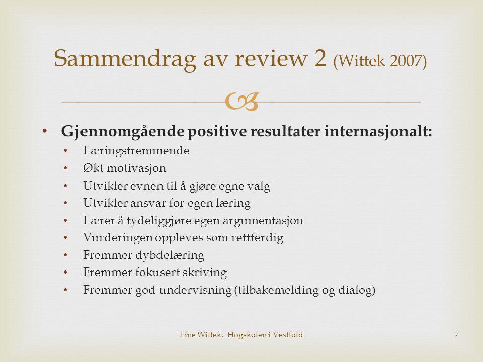 Sammendrag av review 2 (Wittek 2007)