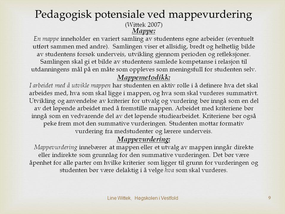 Pedagogisk potensiale ved mappevurdering (Wittek 2007)