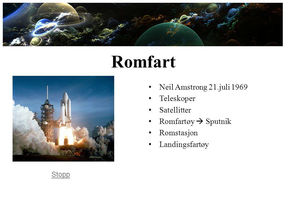 Romfart Neil Amstrong 21.juli 1969 Teleskoper Satellitter
