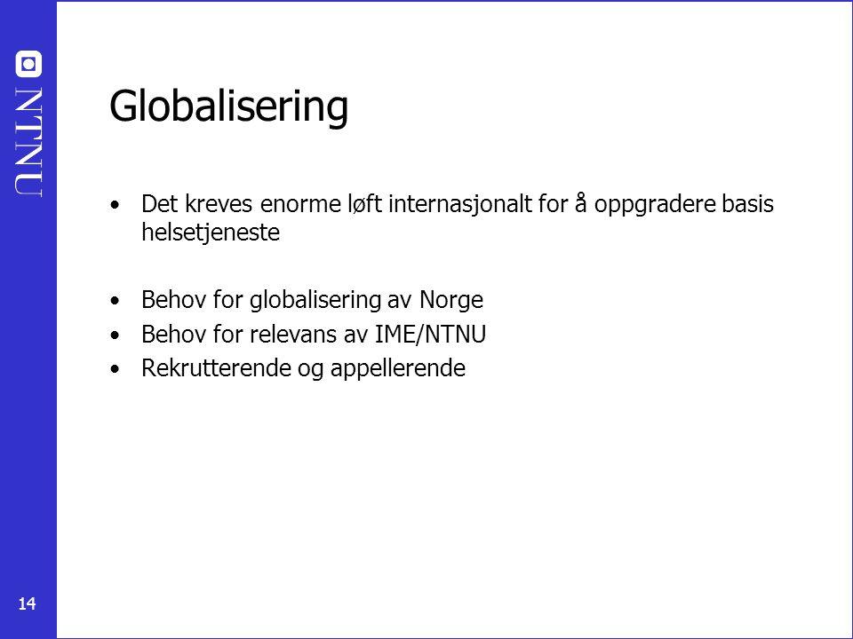 Globalisering Det kreves enorme løft internasjonalt for å oppgradere basis helsetjeneste. Behov for globalisering av Norge.