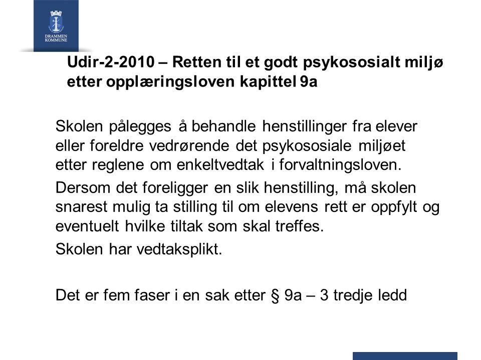 Udir-2-2010 – Retten til et godt psykososialt miljø etter opplæringsloven kapittel 9a