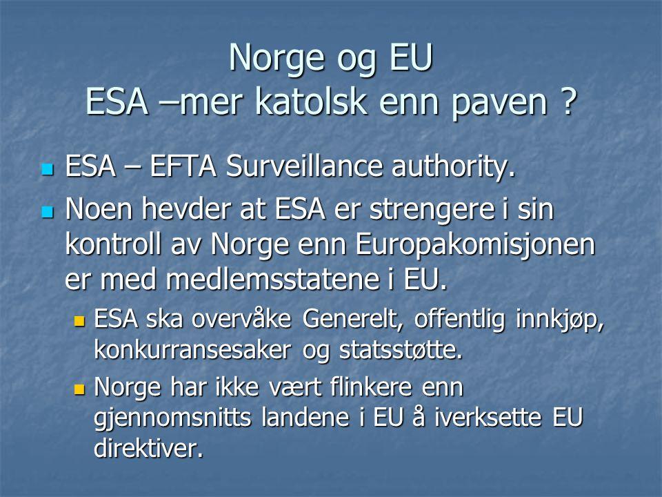 Norge og EU ESA –mer katolsk enn paven