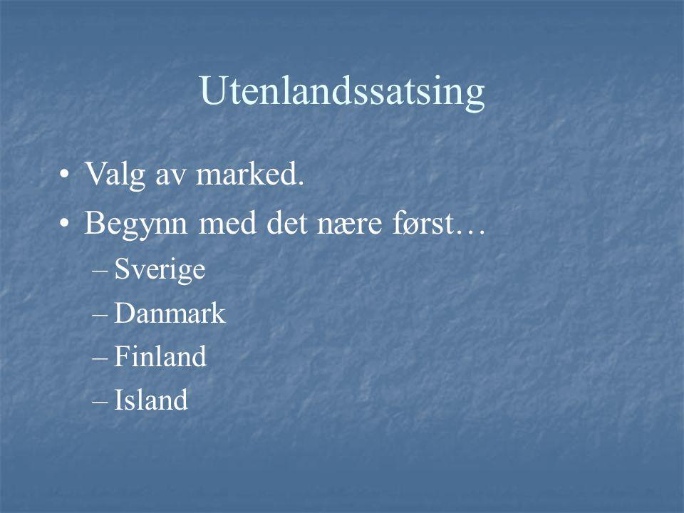 Utenlandssatsing Valg av marked. Begynn med det nære først… Sverige