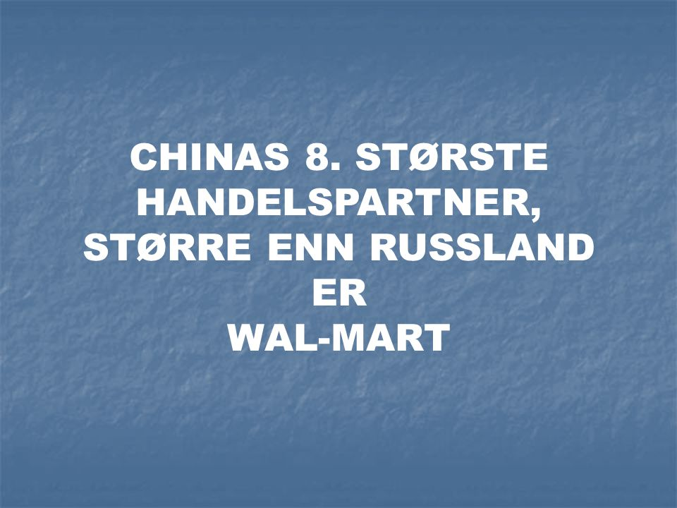 CHINAS 8. STØRSTE HANDELSPARTNER,