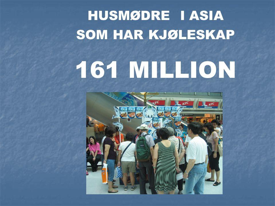 HUSMØDRE I ASIA SOM HAR KJØLESKAP 161 MILLION