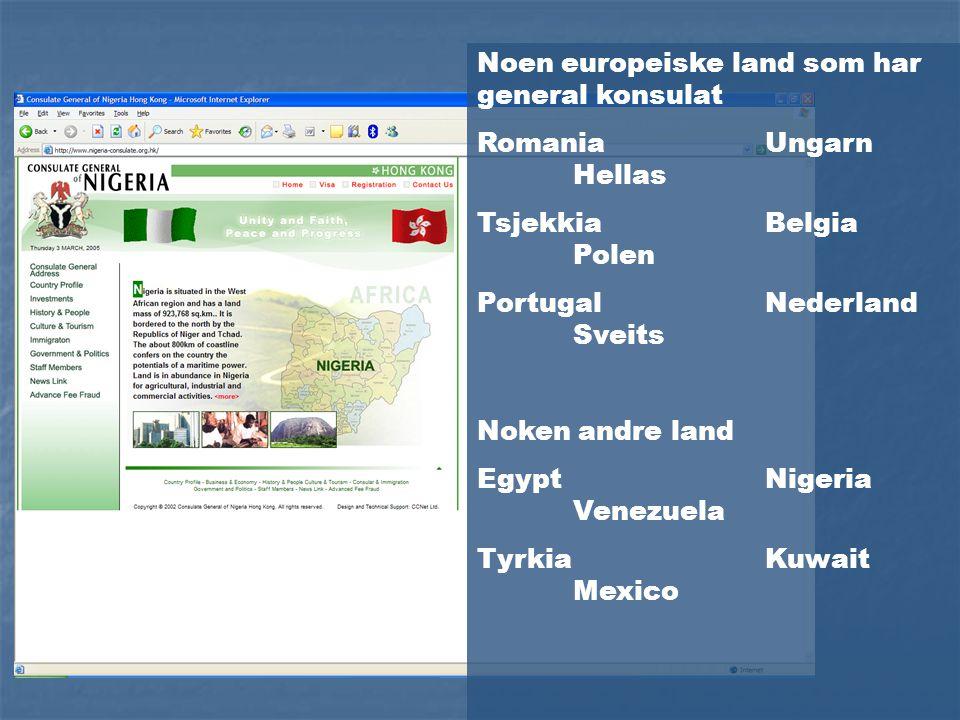 Noen europeiske land som har general konsulat