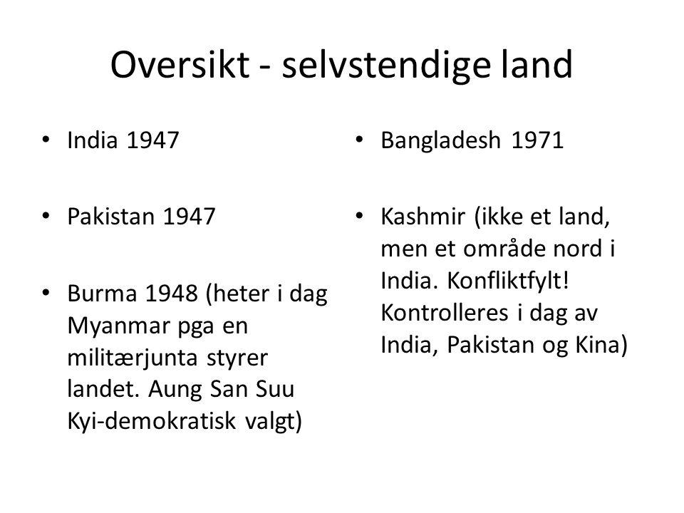 Oversikt - selvstendige land