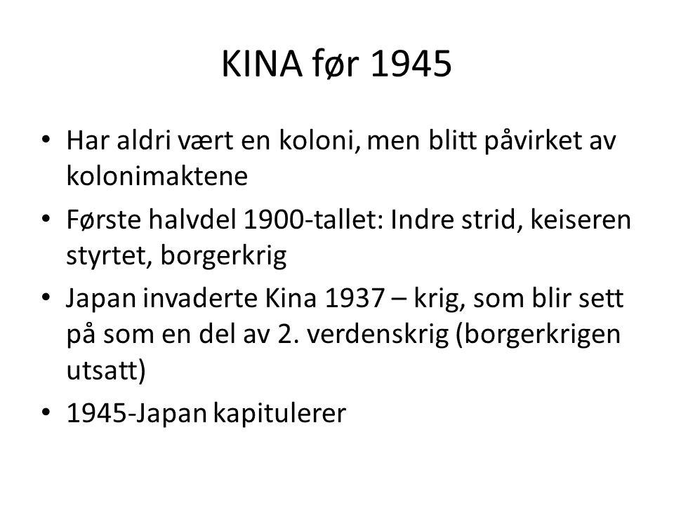 KINA før 1945 Har aldri vært en koloni, men blitt påvirket av kolonimaktene. Første halvdel 1900-tallet: Indre strid, keiseren styrtet, borgerkrig.