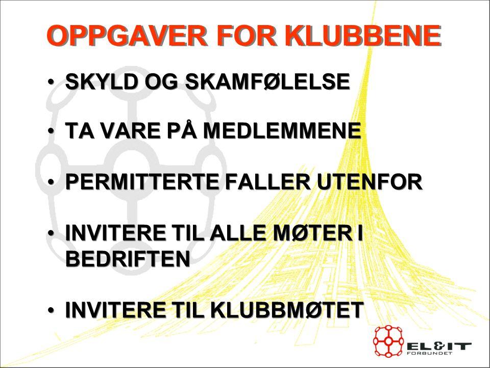 OPPGAVER FOR KLUBBENE SKYLD OG SKAMFØLELSE TA VARE PÅ MEDLEMMENE
