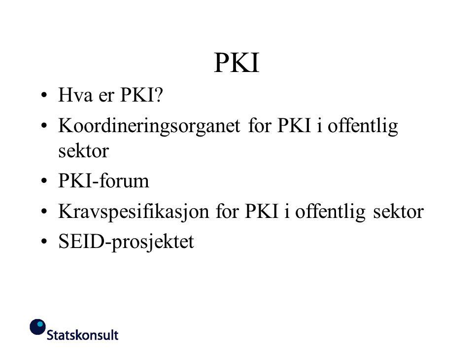 PKI Hva er PKI Koordineringsorganet for PKI i offentlig sektor
