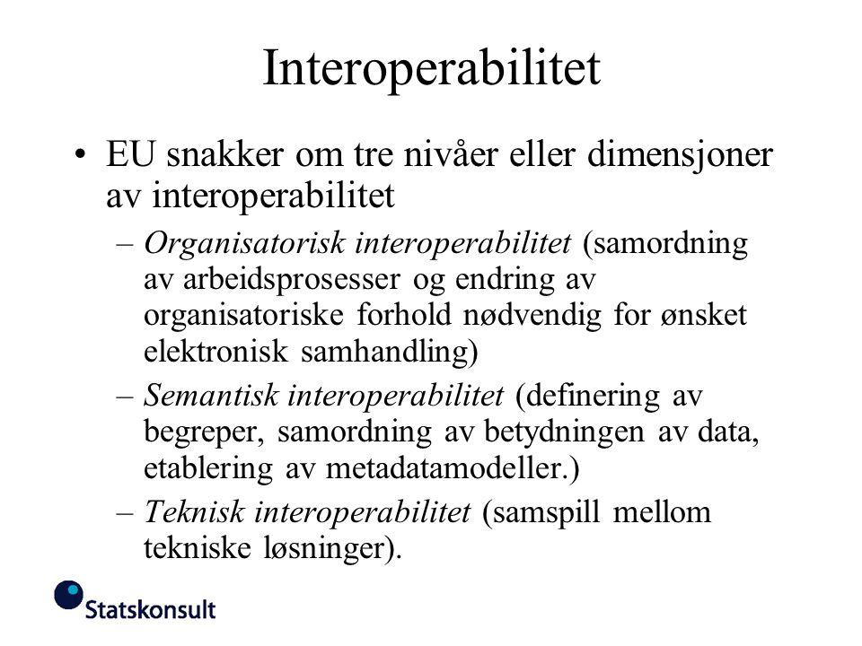 Interoperabilitet EU snakker om tre nivåer eller dimensjoner av interoperabilitet.