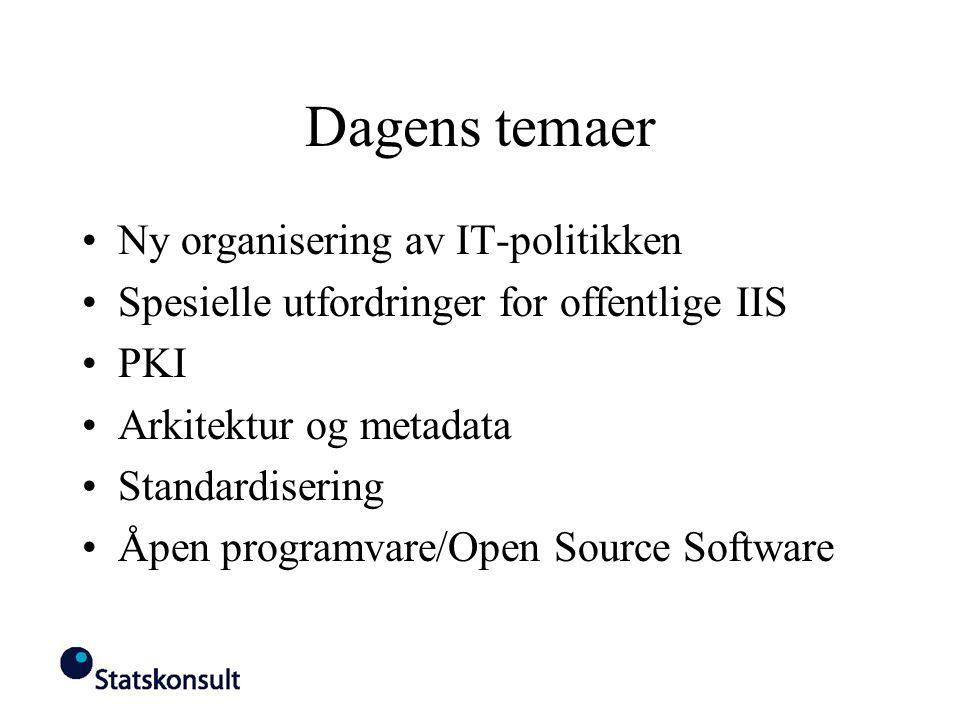 Dagens temaer Ny organisering av IT-politikken