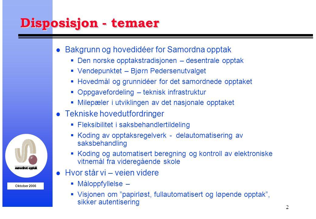 Disposisjon - temaer Bakgrunn og hovedidéer for Samordna opptak
