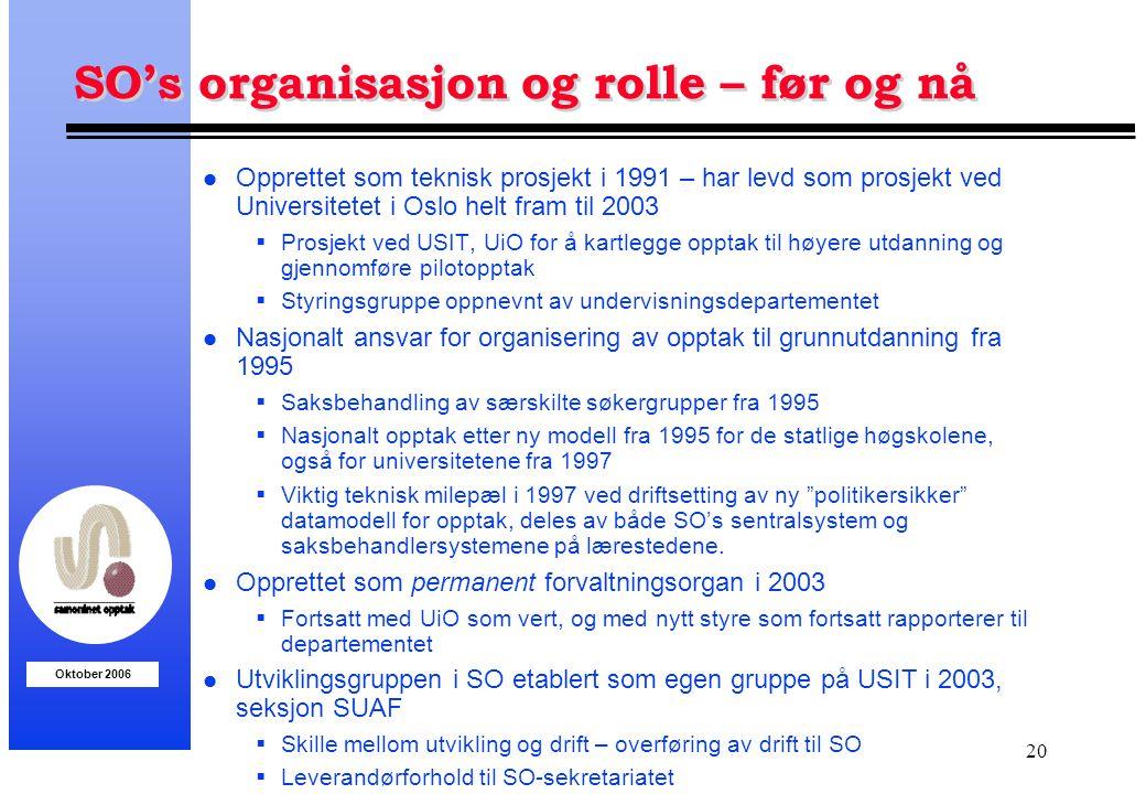 SO's organisasjon og rolle – før og nå