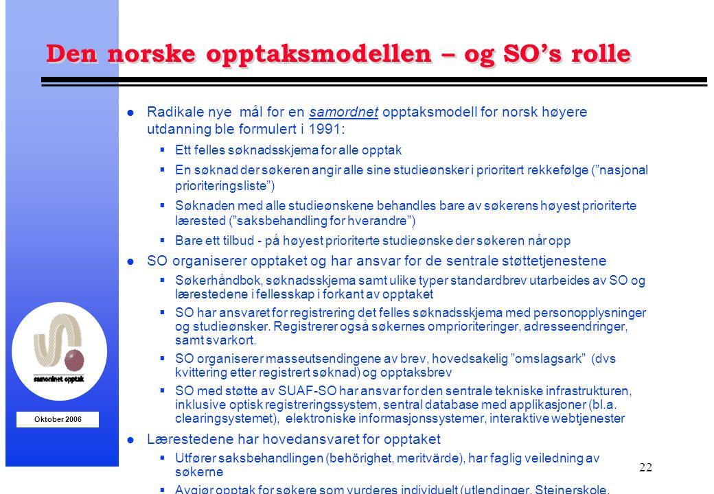 Den norske opptaksmodellen – og SO's rolle