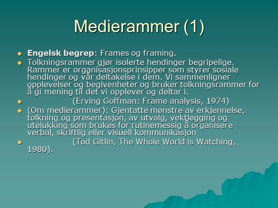 Medierammer (1) Engelsk begrep: Frames og framing.