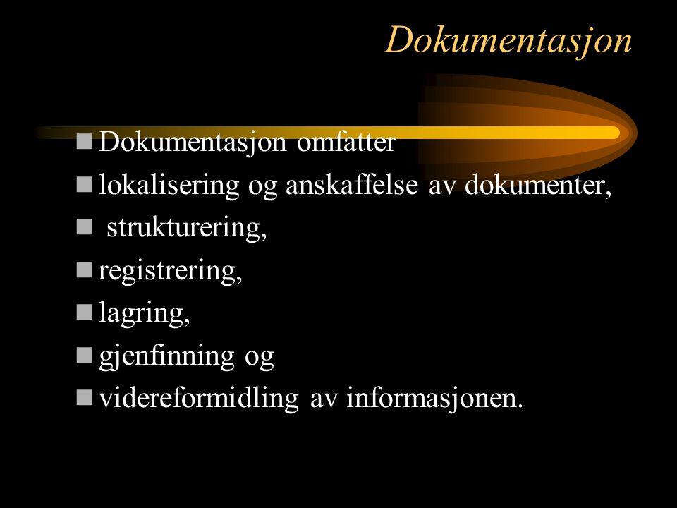 Dokumentasjon Dokumentasjon omfatter