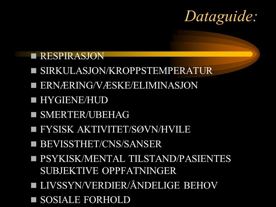 Dataguide: RESPIRASJON SIRKULASJON/KROPPSTEMPERATUR