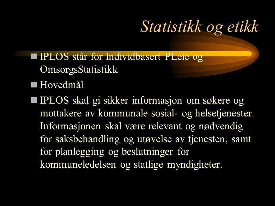Statistikk og etikk IPLOS står for Individbasert PLeie og OmsorgsStatistikk. Hovedmål.