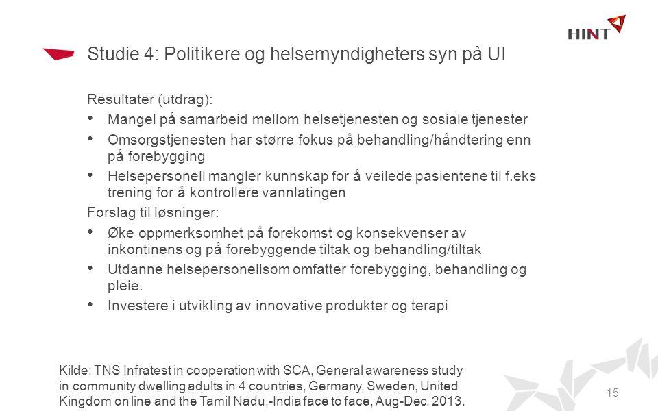 Studie 4: Politikere og helsemyndigheters syn på UI
