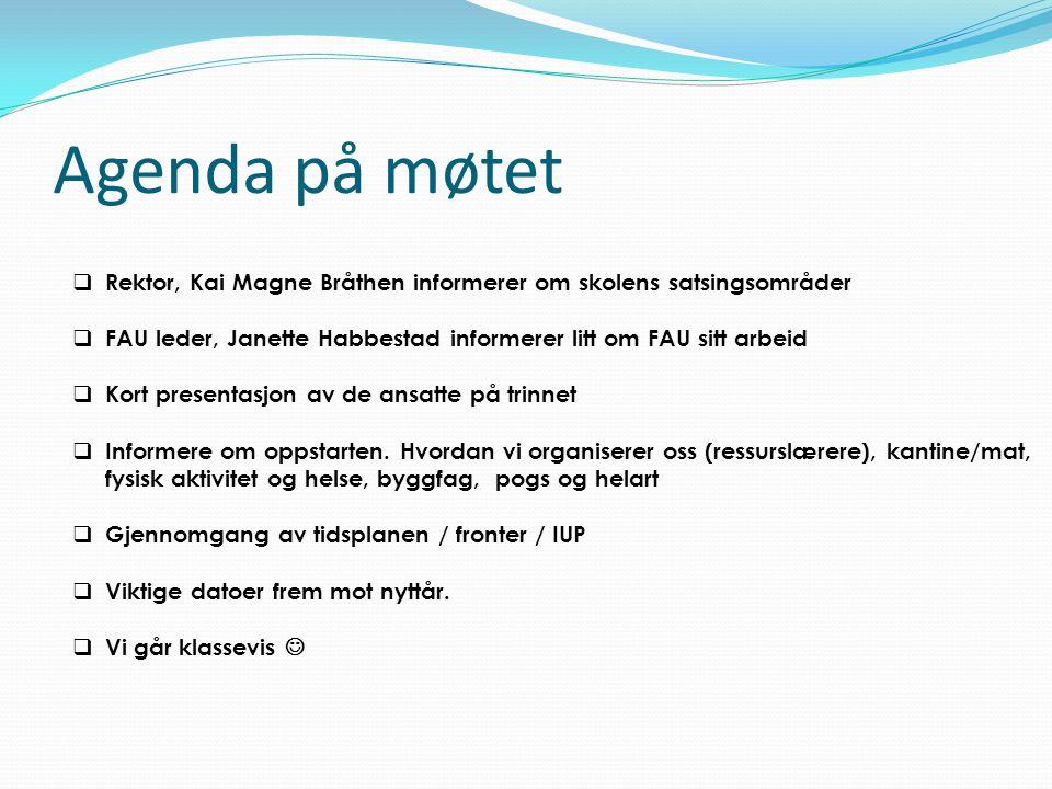 Agenda på møtet Rektor, Kai Magne Bråthen informerer om skolens satsingsområder. FAU leder, Janette Habbestad informerer litt om FAU sitt arbeid.
