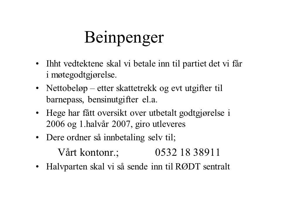 Beinpenger Vårt kontonr.; 0532 18 38911