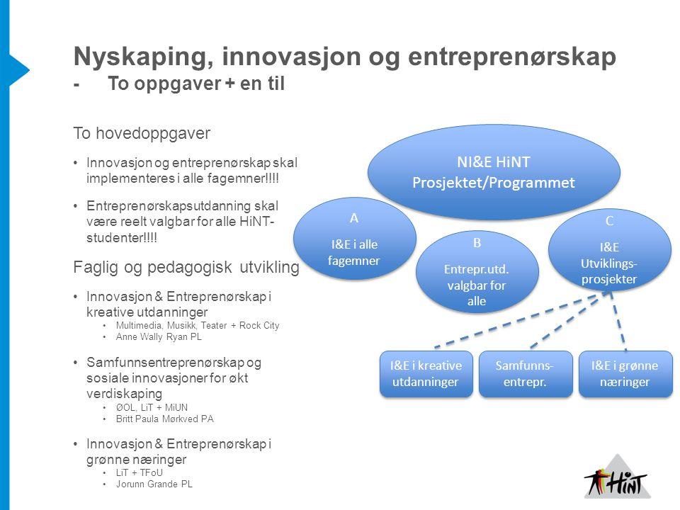 Nyskaping, innovasjon og entreprenørskap - To oppgaver + en til