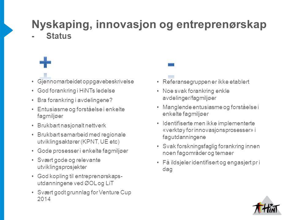 Nyskaping, innovasjon og entreprenørskap - Status