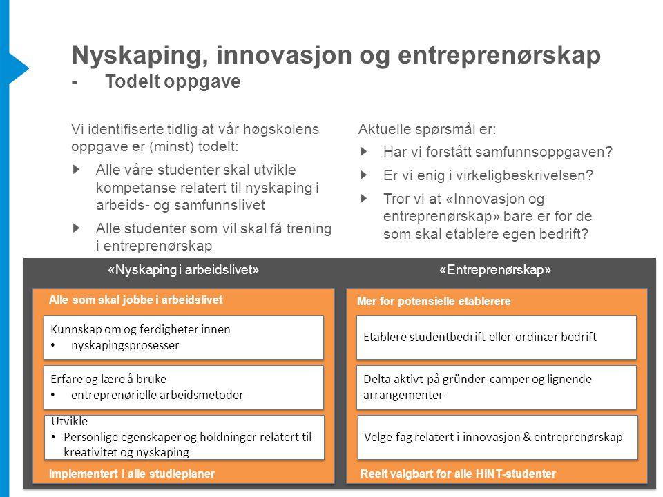 Nyskaping, innovasjon og entreprenørskap - Todelt oppgave