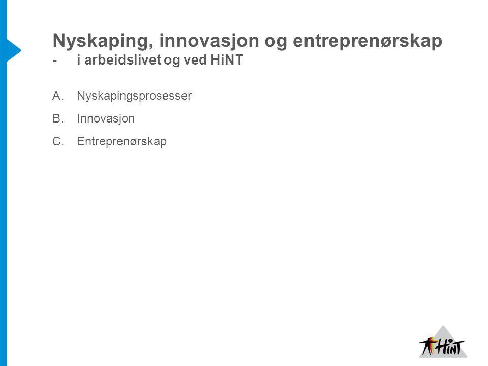 Nyskaping, innovasjon og entreprenørskap - i arbeidslivet og ved HiNT