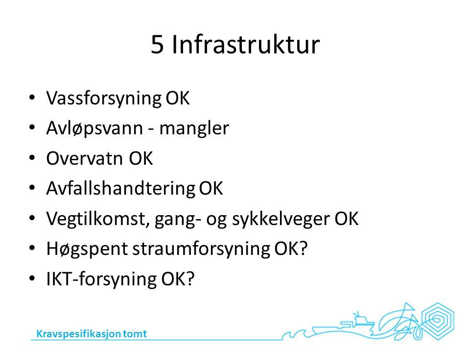 5 Infrastruktur Vassforsyning OK Avløpsvann - mangler Overvatn OK